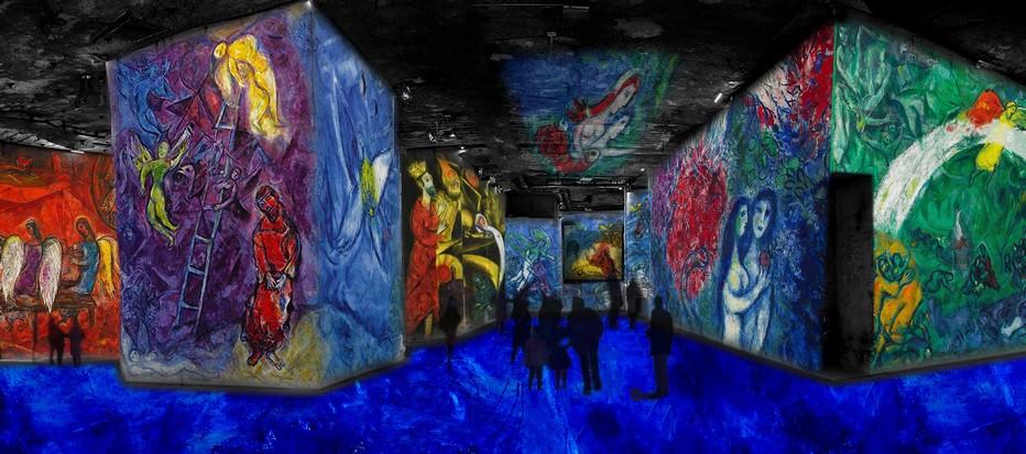 """""""Songes d'une nuit d'été """" Une production de CultureEspaces avec le concours du Comité Marc Chagall. Réalisation Gianfranco Iannuzzi, Renato Gatto et Massimiliano Siccardi avec la collaboration musicale de Luca Longobardi. dans les carrières de Lumière de Baux-de-Provence. copyright ADAGP Paris 2016"""