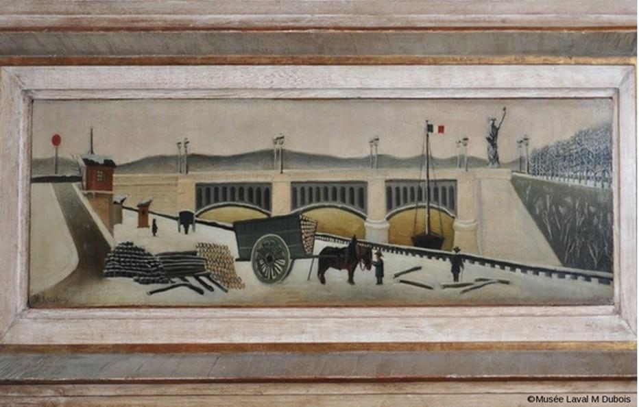 """Troisième oeuvre du """"Douanier Rousseau"""" acquise par le musée de Laval  : Le Pont de Grenelle ( Henri Rousseau Coll. Musée d'Art Naïf et des Arts Singuliers, © Ville de Laval - Marine Dubois)"""