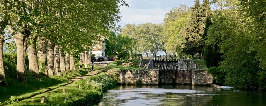Entre les écluses d'Argens (petit village du Minervois) et de Fonsérannes (aux portes de Béziers), le canal du Midi serpente librement entre les platanes  © OT Canal du Midi