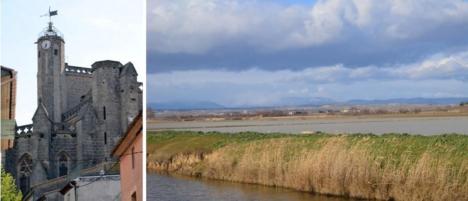 De gauche à droite : sur les hauteurs de Capestang, village annoncé par l'imposante collégiale Saint-Etienne. © David Raynal ; Le canal domine une large plaine dont un ancien étang appelé « étang de Capestang » en partie sur la commune de Montels;  © Capestang.fr