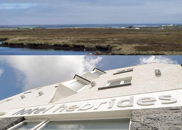 1/ en haut : vue sur l'aéroport de Stornoway © visitscotland.com ; Façade de l' Hôtel Hebrides, Ile de Harris.© Hôtel Hébrides