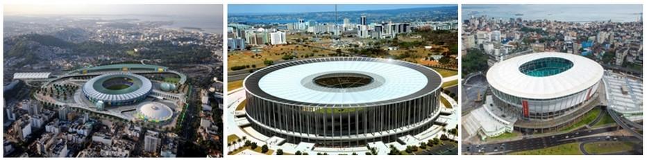 De gauche à droite tous les grands stades prêts pour les Jeux de Rio 2016 : Stade de Rio de Janeiro ;  Le célèbre stade Mané Garrincha dessiné par l'architecte Oscar Niemeyer ;  Le grand stade de Salvador de Bahia;  (Copyright www.rio2016.com/fr)