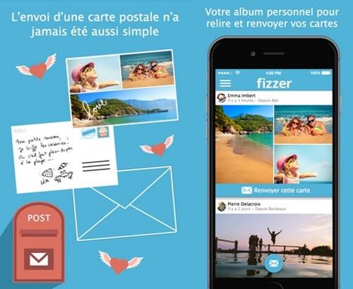 Fizzer une application web et mobile qui permet d'envoyer de véritables cartes postales papier originales et personnalisées, à partir de son mobile ou de sa tablette. (Copyright Fizzer.fr)