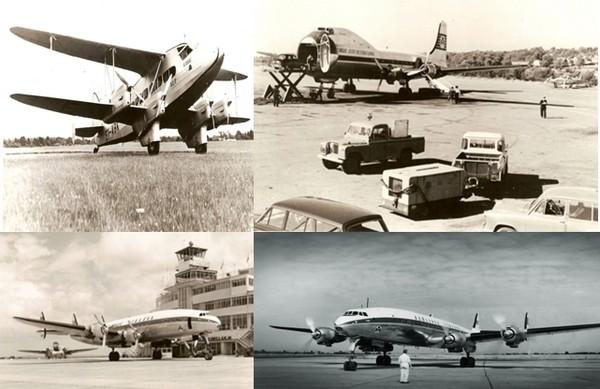 Les différents avions qui ont marqué l'histoire de la compagnie Aer Lingus : En haut à gauche : DH 86a EI-ABK Eire; à droite : Aer Lingus Carvair aircraft circa 1960s; En bas à gauche : DAP 1947-48 ; A droite : 1950s transatlantic flight ; © Archives Aer Lingus