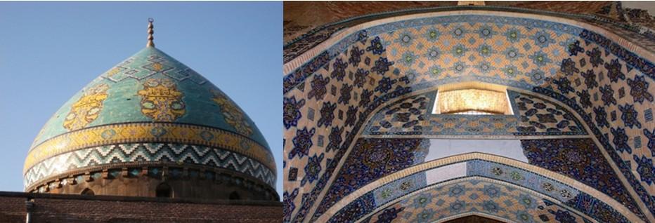 Le magnifique dôme de la Mosquée Bleue ou Masjed-e kaboud et le détail des mosaïques : cette mosquée a été construite par un souverain turc des Moutons Noirs, Djahân Shâh (1439-67). Terminée en 1465, la mosquée bleue se visite en particulier pour son décor en mosaïque de céramique émaillée, l'un des plus beaux de l'art islamique iranien © Galerie Iran