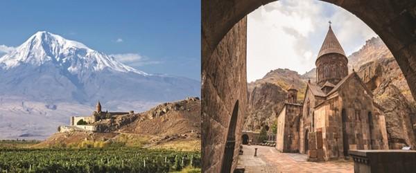 En Arménie, d'importants monastères furent fondés dans la région fertile d'Ararat, au sud d'Erevan et au sommet duquel, l'Arche de Noé se serait échouée. © Mondo Terra