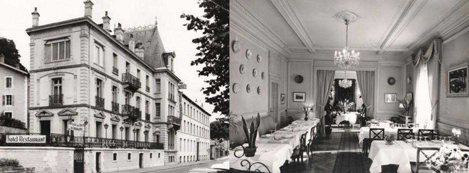 De gauche à droite : Les Ducs de Lorraine… le restaurant étoilé spinalien sis Quai Colonel Sérot. ©Michel et Christine Marion; Salle de restauration des Ducs de Lorraine… alors situés Quai Colonel Sérot à Épinal. ©Michel et Christine Marion