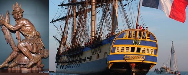 De gauche à droite :  Musée de la Marine Rochefort : Figure de proue © C. Gary ; L'Hermione de retour à Rochefort ©  Hermione.com