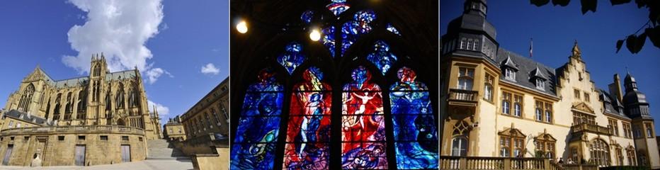 De gauche à droite : Cathédrale Saint-Etienne © Philippe Gisselbretch Ville de Metz; Avec ses très nombreux vitraux réalisés par d'illustres personnalités du monde de l'art,notamment comme celui-ci  dessiné par Chagall , la Cathédrale est l'une des plus belles au monde  ©  OT Metz; Palais du gouverneur © Fab