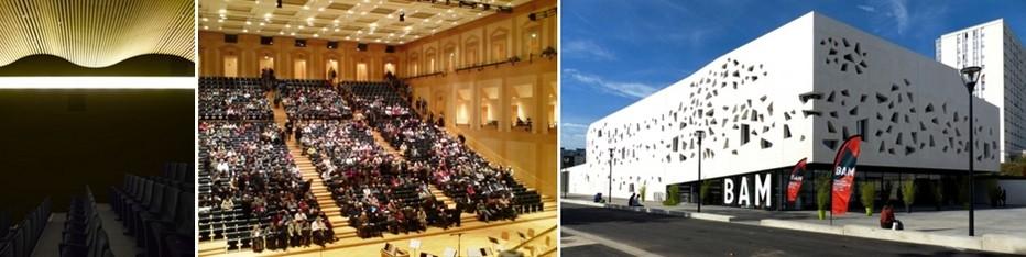 De gauche à droite : Le magnifique auditorium du Centre Pompidou-Metz © OT Metz ; A l'intérieur de  l'ancien Arsenal se trouve l' un des plus beaux auditoriums d'Europe © Diligent ; La « BAM », la Boîte à musique, consacrée aux musiques actuelles © OT Metz;