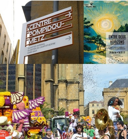 En haut de gauche à droite : En direction du Centre Pompidou-Metz © Ruedi Baur; Affiche de la nouvelle exposition © Centre Pompidou Metz; En bas : Fêtes de la mirabelle © Ville de Metz.