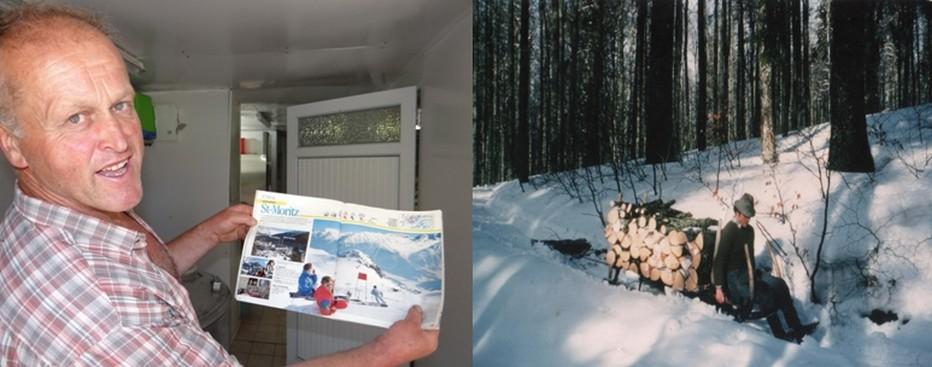 Jean-Michel Curien très fier de présenter une plaquette du Club Méditerranée lors de la saison hivernal 1987-1988 à Saint-Moritz (Suisse) alors qu'il était moniteur de ski (combinaison rouge). ©Bertrand Munier; L'hiver venu, Jean-Michel Curien se mue en bûcheron pour débarder du bois à l'aide d'une schlitte… comme au cours de cet hiver 1980. ©Bertrand Munier