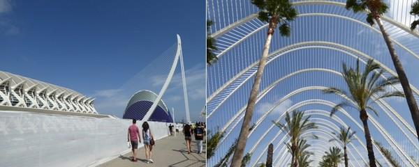 De gauche à droite : Cité des Arts et des Sciences © Catherine Gary; CAC L'Umbracle © Catherine Gary