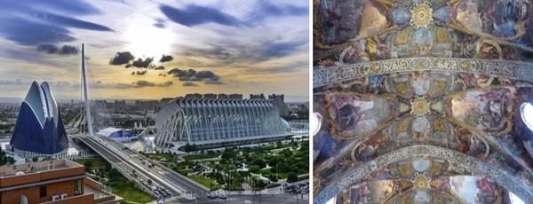 L'ensemble de la Cité des Arts et des Sciences © www.visitvalencia.com ; A l'église San Nicolas on peut admirer le plafonds récemment découverts sous le plâtre et que l'on compare à ceux de la Sixtine.© Catherine Gary
