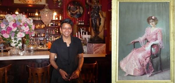 De gauche à droite : Au Cafe de las Horas on déguster des cocktails dans une ambiance théâtrale et un esprit gay.© Catherine Gary; A l'Hôtel Las Arena l' excellent restaurant  est orné d'un grand tableau de Joaquín Sorolla, le peintre originaire de Valence.© Catherine Gary