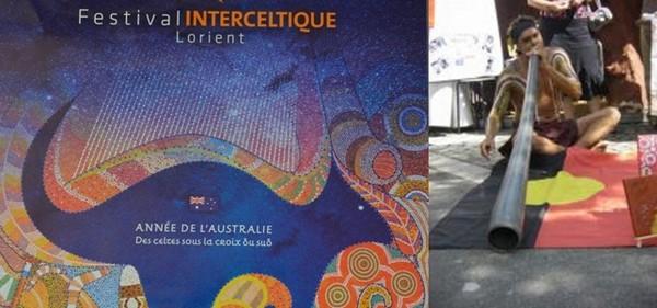 L'Affiche du Festival Interceltique de cette 46 ème édition rend hommage à l'Australie, le pays invité.© www.festival-interceltique.bzh; Joueur de didgeridoo, instrument traditionnel  aborigène;