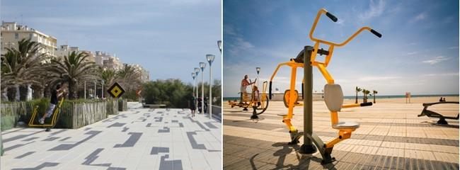"""Le """"Baladoir""""  une promenade très stylée, conçue dans les années 80 par Vasarely, le pape de l'art cinétique qui vous mène aux jeux bordant la plage pour finir au port de Plaisance du Canet en Roussillon. © Catherine Gary et OT Canet-en-Roussillon"""