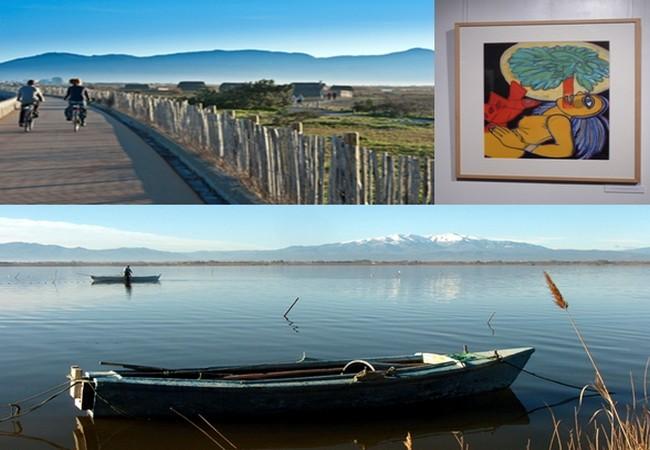 """Tout le plaisir d'un séjour au Canet-Roussillon, promenade à vélo dans un paysage somptueux, voir une exposition à la """"Galerie des Hospices, ou aller pêcher sur l'immense étang. © OT Le Canet-en-Roussillon et Catherine Gary"""