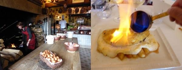 De gauche à droite : Préparation de l'omette dans la grande cheminée  © Catherine Gary; L'omelette flambée façon dessert de la Mère Poulard  © Catherine Gary