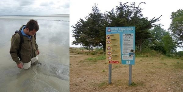 Explications impressionnantes de  l'effet  des sables mouvants.  © Catherine Gary ; Panneau à lire attentivement et ne pas oublier les heures des marées  © Catherine Gary