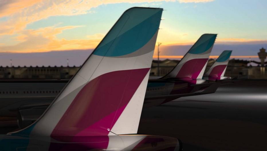 Eurowings vole sous son propre nom, mais avec une nouvelle livrée dès le début 2015.  Elle consolide sa position en reprenant un grand nombre de routes opérées par sa compagnie sœur Germanwings, devenue complémentaire. Crédit photo Eurowings