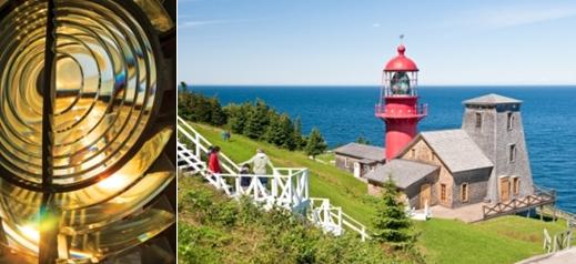 De gauche à droite : Lentille du phare telle une oeuvre d'art et le phare de la Pointe Renommée.  ©  Patrick Matte et  Québec Maritime.