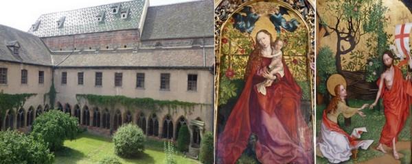 De gauche à droite : Le Musée d'Unterlinden. © C.Gary ; La Vierge au Buisson de roses  © C.Gary  ; Au musée d'Unterlinden  © C.Gary