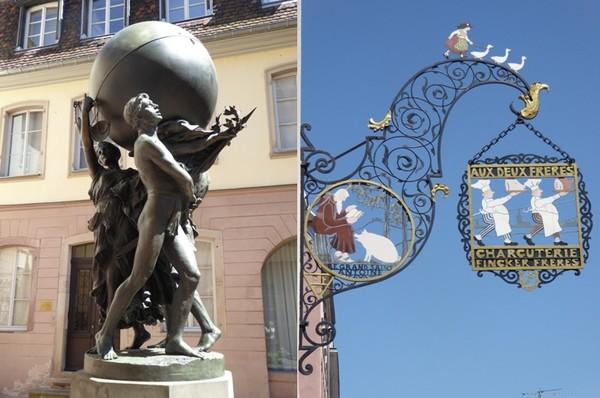 De gauche à droite : Une oeuvre de Bartholdi, né en 1904, est lui aussi enfant du pays.  © C.Gary ; Enseigne de Hansi.  © C.Gary