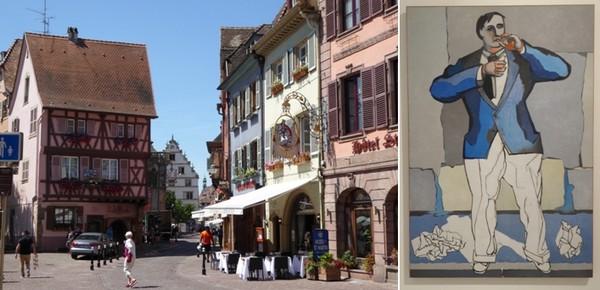 Le centre ville de Colmar  © C.Gary  ;  L'Allumeur de Jean Hélion (1944)Musée Unterlinden  © C.Gary