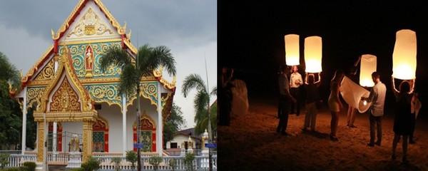 Découverte du temple de Takuapa, et fête des lumières sur la plage de l'Hôtel.  © Patrick Cros