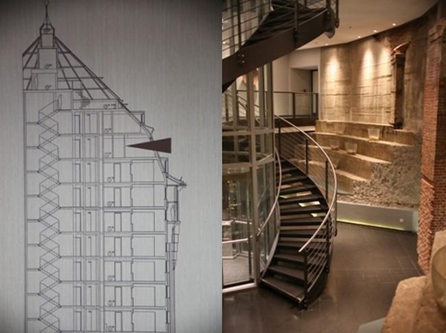 Les étages se sont  montés un à un, s'articulant autour de ce moyeu central, desservant l'ensemble du bâtiment © mövenpick.com