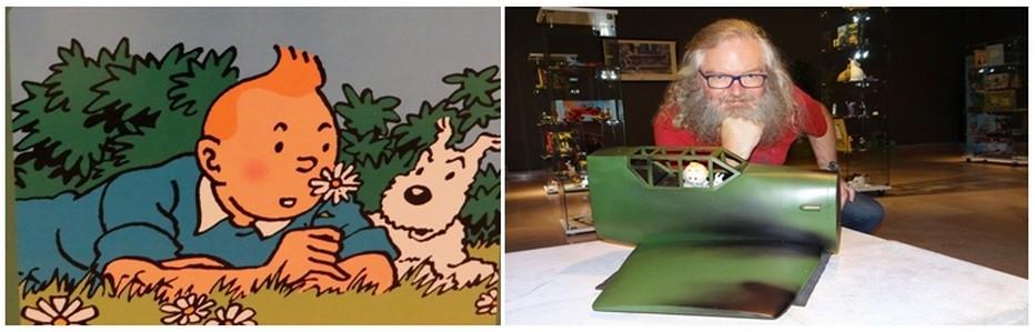 De gauche à droite : Tintin et Milou fleurent bon les souvenirs de BD. ©Bertrand Munier; L'Alsacien Rémi Waeldin est tombé enfant dans l'univers d'Hergé. ©Bertrand Munier