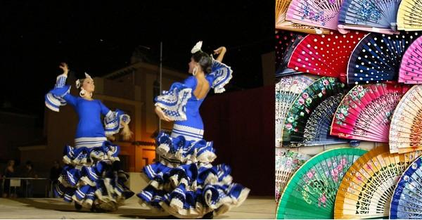 le flamenco, tradition forte de chant et de danse qui vous emporte l'âme dans les claquements de talons et de castagnettes.  © O.T.Spain; Les éventails peints à la main un art qui appartient à la tradition espagnole.  © C.Gary