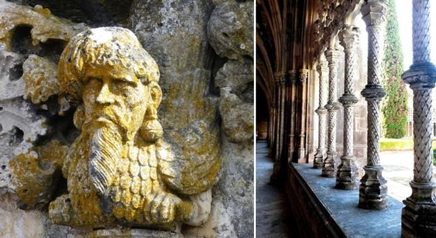 De gauche à droite : Tomar Détail des ornements manuelins sur cette tête de marin © JMT ; Détail et finesse de l'architecture du  monastère de Batalha © O.T. Portugal