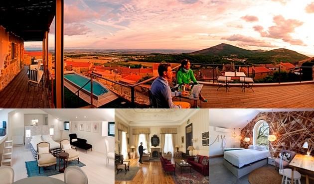 Photo du haut : Casa da Cisterna. Une maison d'hôtes décorée avec soin pour une ambiance et un accueil chaleureux  © DR; En bas de gauche à droite :Casa de Cisterna Suite Sobreiro Casa © DR ;Quinta Las lagrimas © DR; Hotel Luz Houses © DR