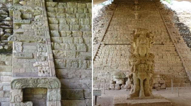 Au centre de l'Acropole, une structure pyramidale dresse son escalier hiéroglyphique étonnamment conservé, l'une des plus remarquables réalisations mayas.  © Catherine Gary
