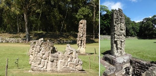 Stèles remarquablement sculptées sous le règne de Dix-huit Lapin.  © Catherine Gary