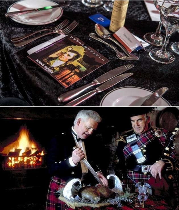 La soirée, qui se déroule au Burns Cottage à Alloway (Ayr), inclut un repas savoureux avec du haggis bien sûr, des représentations des œuvres de Burns et un discours en l'honneur du grand barde. © www.visitscotland.com/fr