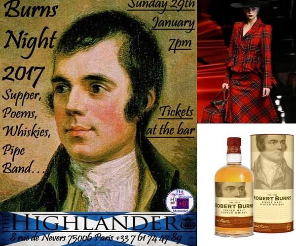Affiche The Highlander Scottish Pub Paris (soirée prévue le 29 janvier) © Dr; Une élégante en tartan écossais  © Pinterest; Le célèbre Arran Robert Burns Malt 43% (à boire avec modération) ©  Maison du Whisky