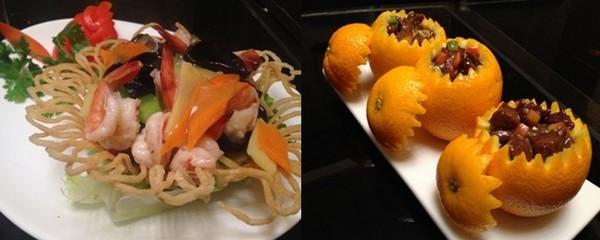 De gauche à droite : Que chao ; Oranges farcies au boeuf © DR