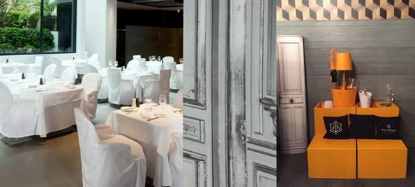 De gauche à droite : La Table du 8 et son décor signé Simon Margiela ; La Veuve Clicquot accueille ses invités pour une raclette très select © C.Gary