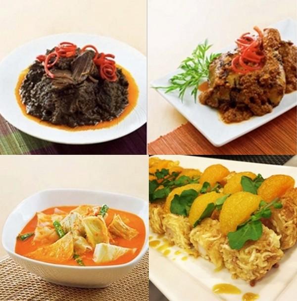 """Différentes recettes du grand chef indonésien William Wongso : en haut à gauche . """"Avec mon équipe, nous avons  pu présenter l'un de mes plats favoris, le Rendang Padang qui est un bœuf au curry caramélisé """"; 2/ Indonesie_ayam panggang bumbu rujak  ; En bas à gauche : sayur kapau et le selada Bangka . © D.R."""