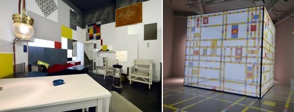 De gauche à droite : Reconstruction du studio parisien  de Mondrian dans le cadre de l'exposition Mondriaanhuis - © Mike Bink; Video de Boogie Woogie  © Catherine Gary