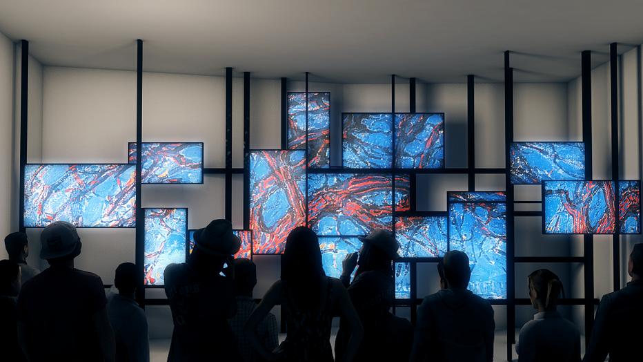 La vidéo revisite en 23 écrans dont les images s'enchaînent et se superposent l'évolution de la figuration à l'abstraction  © Catherine Gary