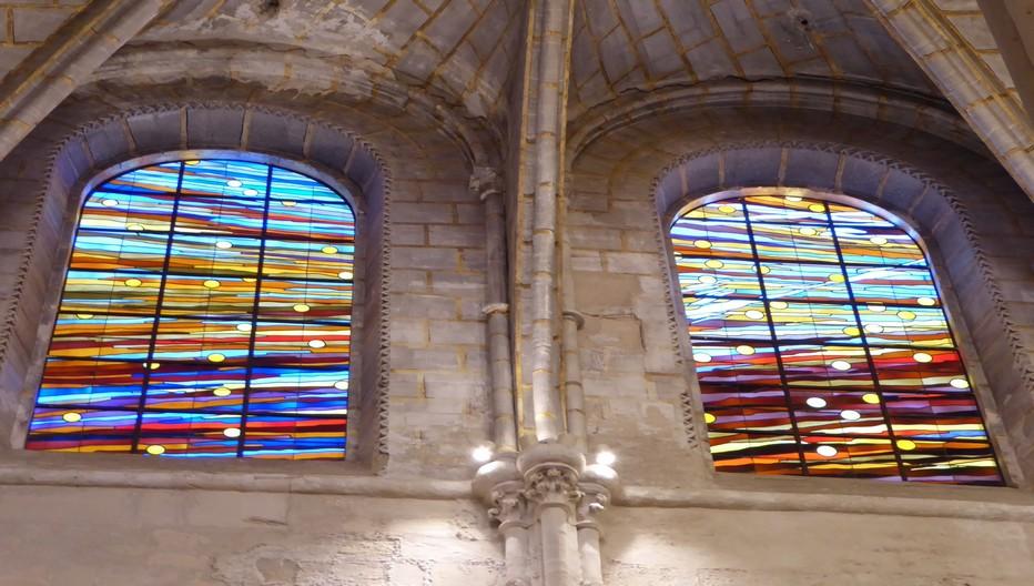Les vitraux de la Cathédrale. A Cuenca la mosquée édifiée durant la période arabe s'est muée en cathédrale gothique à la Reconquête, en 1177.© Catherine Gary