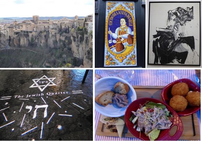 En haut de gauche à droite : La ville perchée de Cuenca ; Posada Madrid ; Chillida au Musée d'Art Abstrait Espagnol. En bas de gauche à droite : On se repère la nuit dans le quartier juif; Restaurant Hacienda del Cardenal ; © Catherine Gary