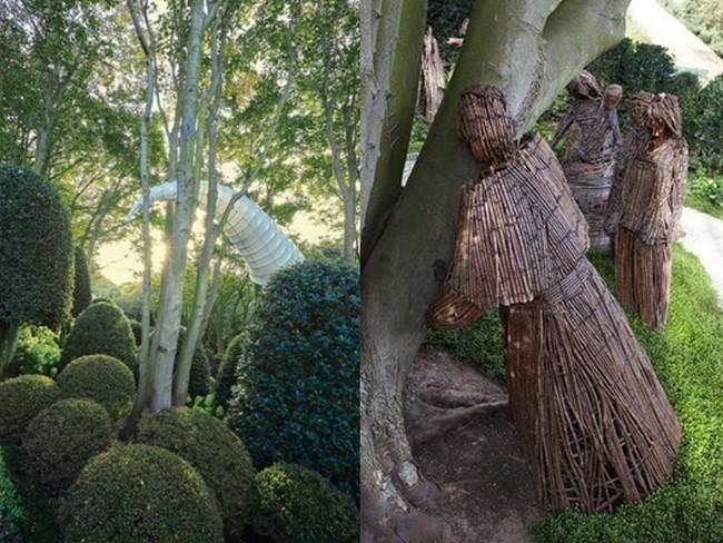 De gauche à droite : Coquillage de mer d'Alena Kogan; Le jardin des Etreintes et des arbres  est illustré par des sculptures des artistes polonais Viktor Szostalo et Agnieszka Gradnik qui représentent des personnages réalisés en bois de vigne étreignant des arbres   © Les Jardins  d'Etretat