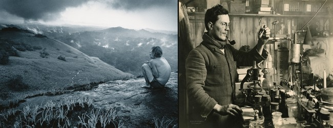 De gauche à droite : Le  biologiste Mickaël Fay. -® National Geographic ( Michael Nichols) ; - -® National Geographic (Herbert G. Ponting)
