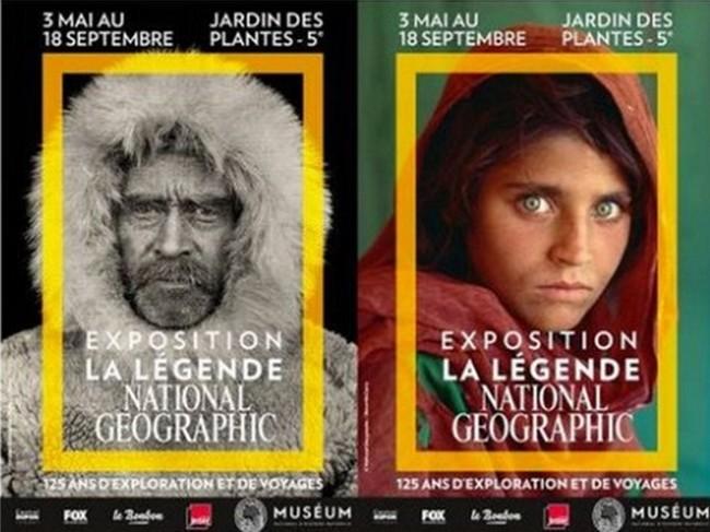 Affiches de l'xposition : couverture 1 photo  © Robert E. Peary Accueil Muséum; Couverture 2, la jeune Afghane par Steve McCurry.
