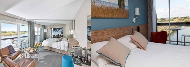 Chambre suite junior de 34m2 et chambre Océan et Jardin de 24m2  ©hotel.thalasso-carnac.com/destination-hotel-les-salines.html
